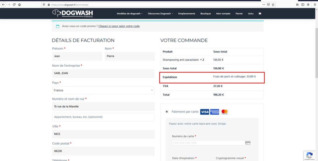 Boutique en ligne dogwash : étape de commande N13