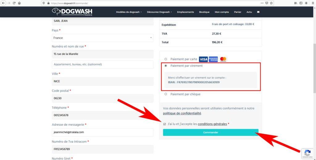 Boutique en ligne dogwash : étape de commande N14