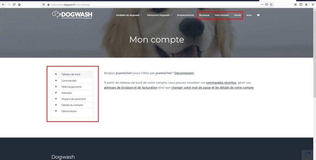 Boutique en ligne dogwash : étape de commande N6