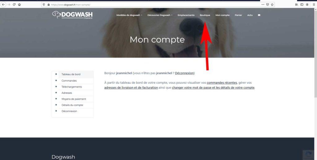 Boutique en ligne dogwash : étape de commande N7