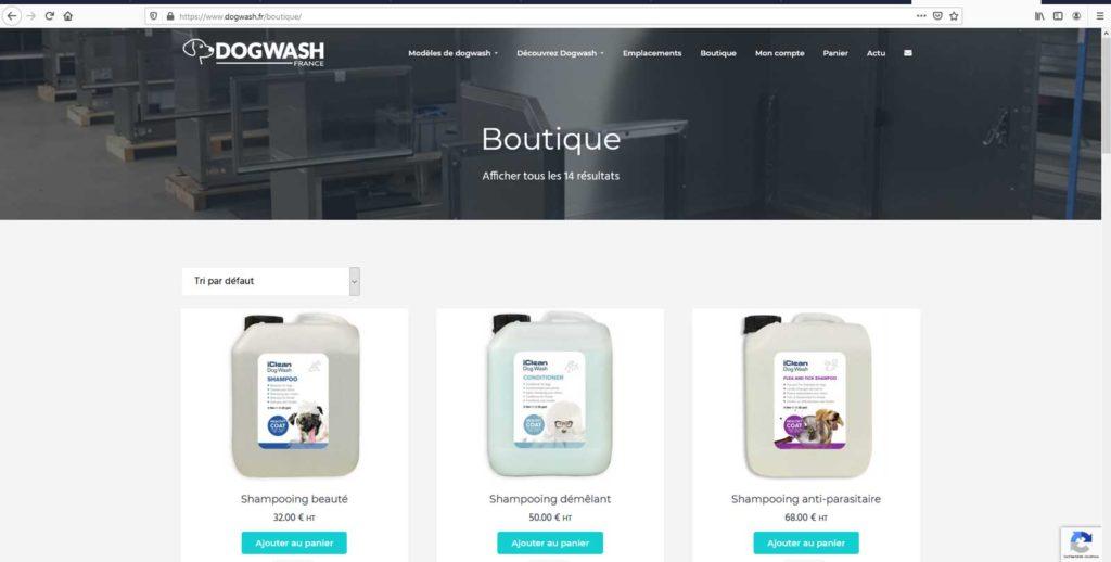 Boutique en ligne dogwash : étape de commande N8