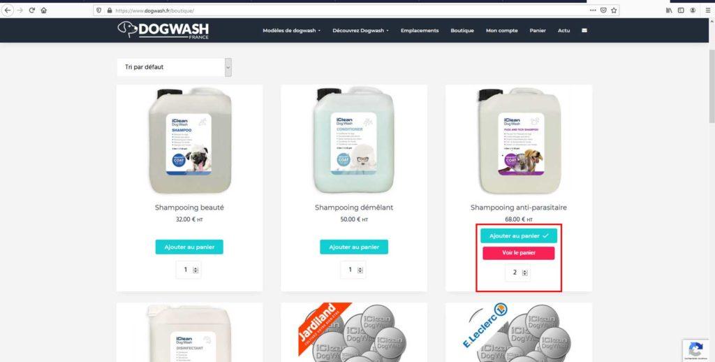 Boutique en ligne dogwash : étape de commande N9