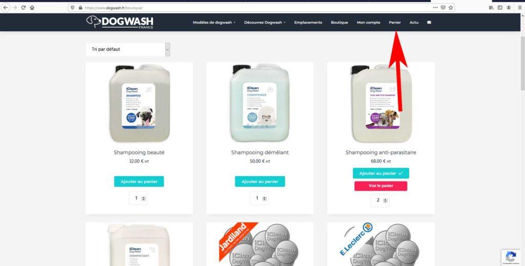 Boutique en ligne dogwash : étape de commande N10